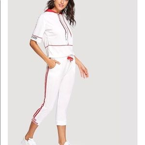SheIn Hoodie and Stripes Shirt/ Pants Set